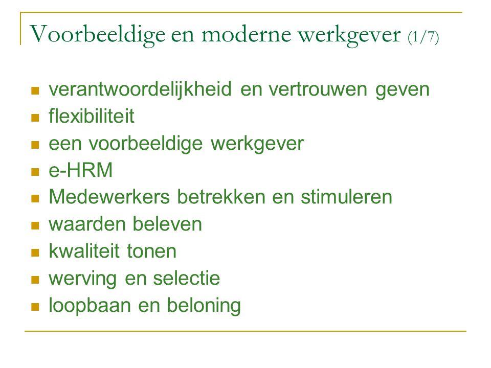 Voorbeeldige en moderne werkgever (1/7) verantwoordelijkheid en vertrouwen geven flexibiliteit een voorbeeldige werkgever e-HRM Medewerkers betrekken