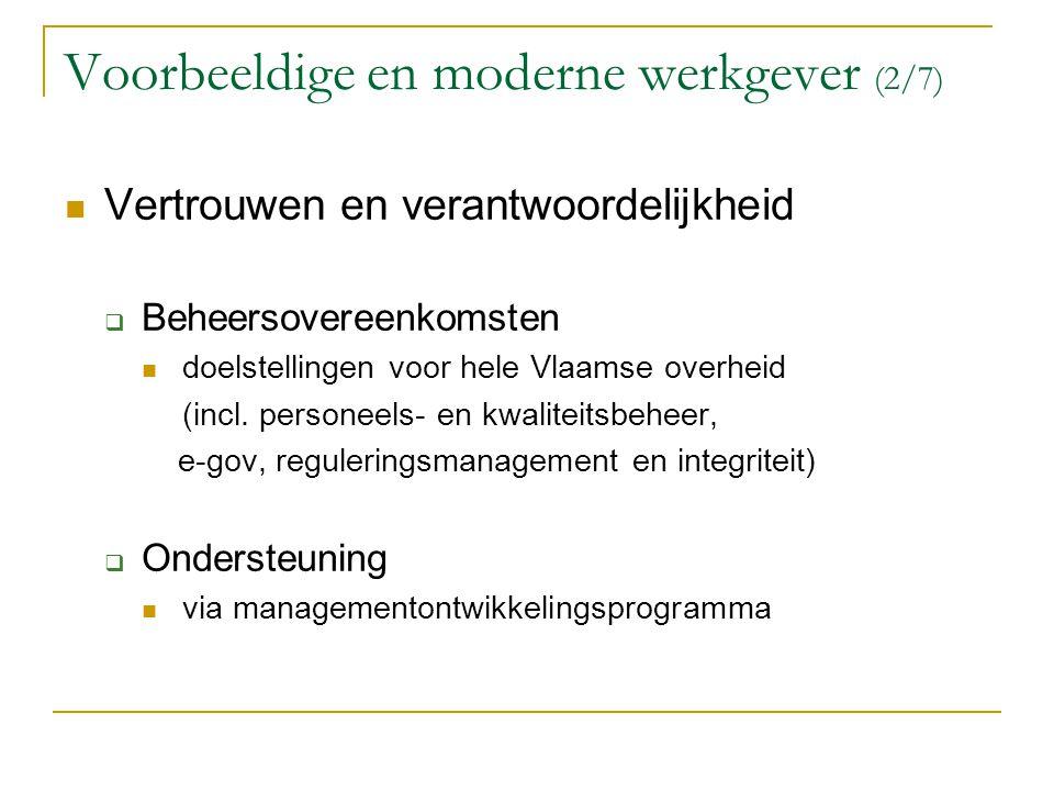 Voorbeeldige en moderne werkgever (2/7) Vertrouwen en verantwoordelijkheid  Beheersovereenkomsten doelstellingen voor hele Vlaamse overheid (incl. pe