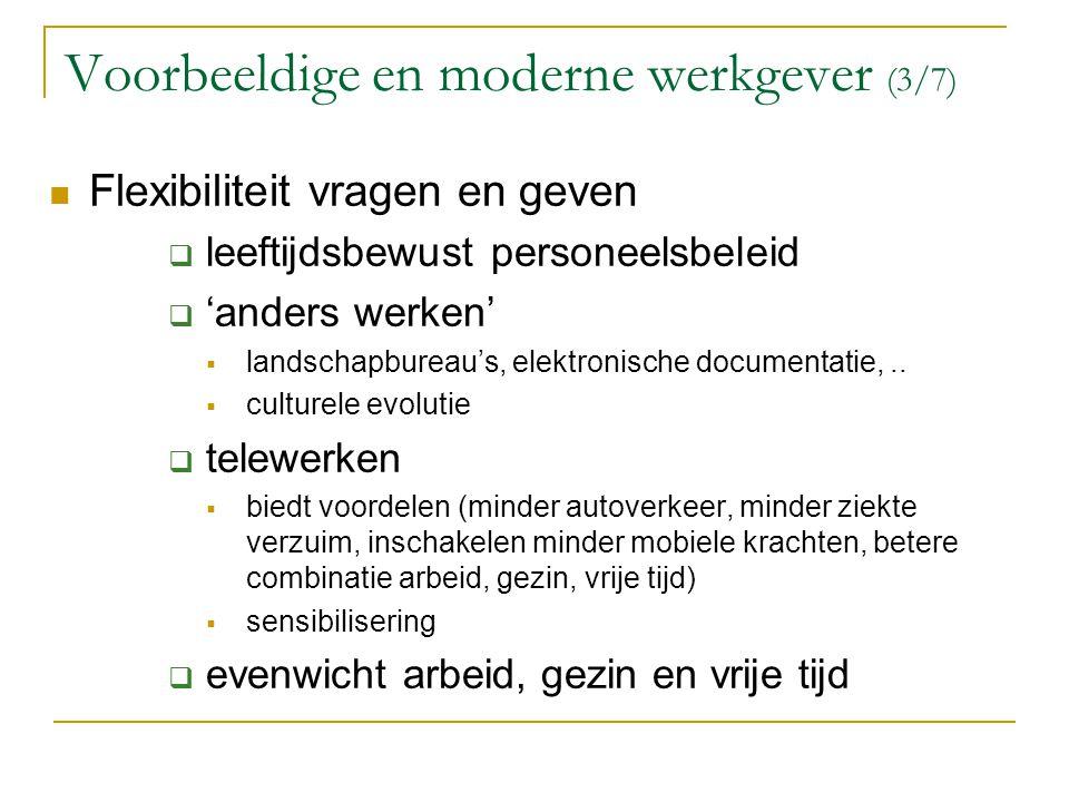 Voorbeeldige en moderne werkgever (3/7) Flexibiliteit vragen en geven  leeftijdsbewust personeelsbeleid  'anders werken'  landschapbureau's, elektr