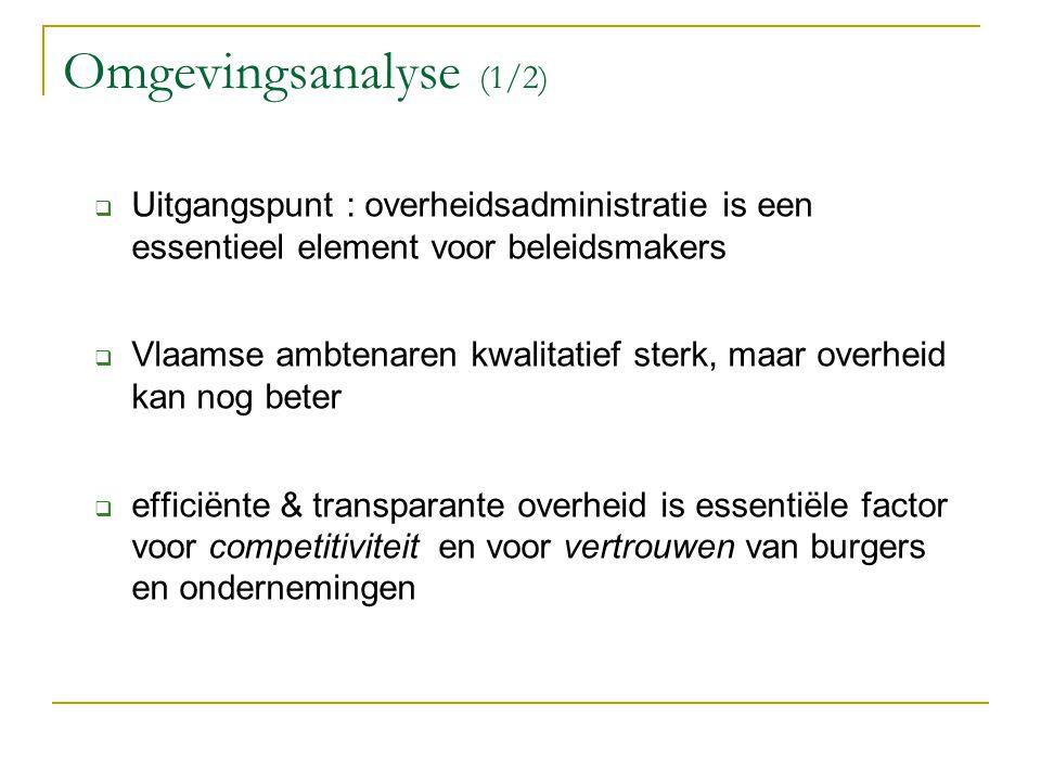 Omgevingsanalyse (1/2)  Uitgangspunt : overheidsadministratie is een essentieel element voor beleidsmakers  Vlaamse ambtenaren kwalitatief sterk, ma
