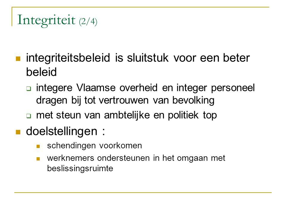 Integriteit (2/4) integriteitsbeleid is sluitstuk voor een beter beleid  integere Vlaamse overheid en integer personeel dragen bij tot vertrouwen van