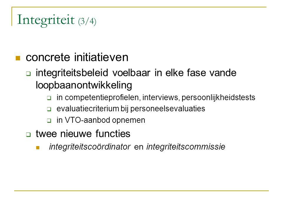 Integriteit (3/4) concrete initiatieven  integriteitsbeleid voelbaar in elke fase vande loopbaanontwikkeling  in competentieprofielen, interviews, p