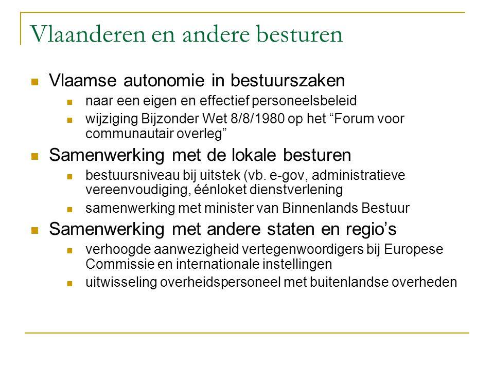 Vlaanderen en andere besturen Vlaamse autonomie in bestuurszaken naar een eigen en effectief personeelsbeleid wijziging Bijzonder Wet 8/8/1980 op het