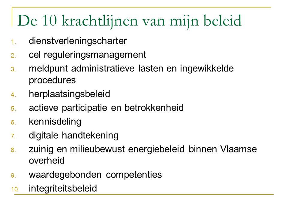 De 10 krachtlijnen van mijn beleid 1. dienstverleningscharter 2. cel reguleringsmanagement 3. meldpunt administratieve lasten en ingewikkelde procedur