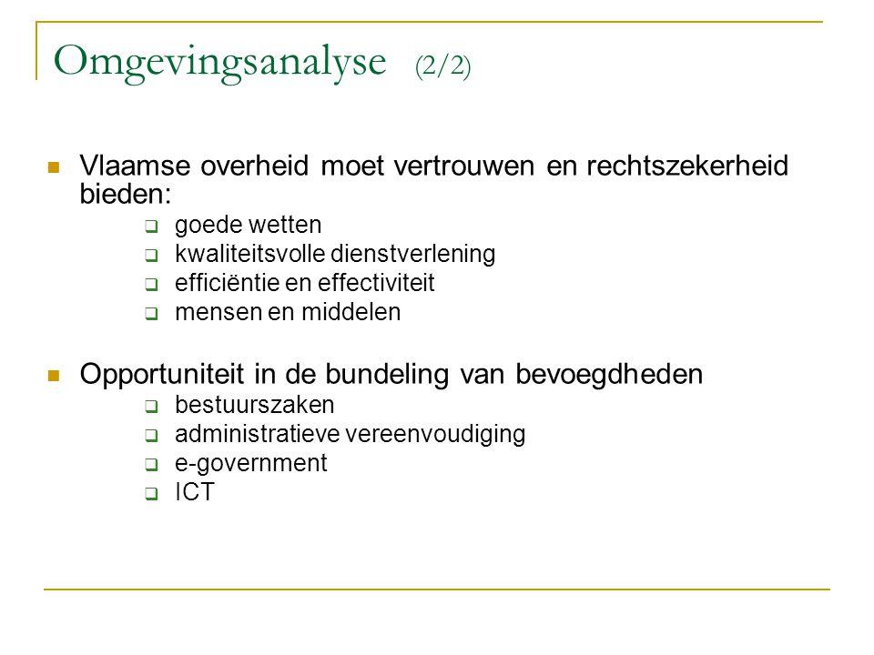 Omgevingsanalyse (2/2) Vlaamse overheid moet vertrouwen en rechtszekerheid bieden:  goede wetten  kwaliteitsvolle dienstverlening  efficiëntie en e