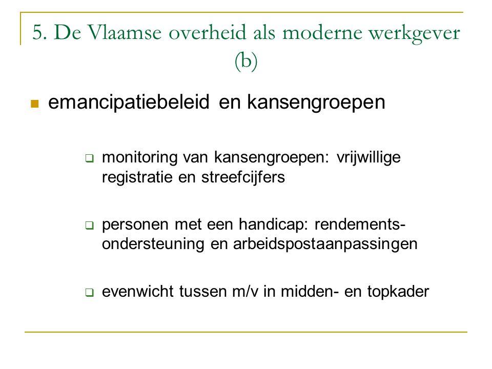 5. De Vlaamse overheid als moderne werkgever (b) emancipatiebeleid en kansengroepen  monitoring van kansengroepen: vrijwillige registratie en streefc