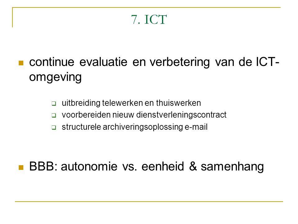 7. ICT continue evaluatie en verbetering van de ICT- omgeving  uitbreiding telewerken en thuiswerken  voorbereiden nieuw dienstverleningscontract 