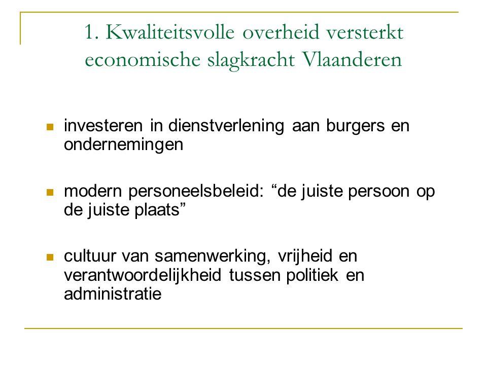 1. Kwaliteitsvolle overheid versterkt economische slagkracht Vlaanderen investeren in dienstverlening aan burgers en ondernemingen modern personeelsbe