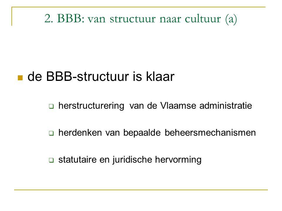 2. BBB: van structuur naar cultuur (a) de BBB-structuur is klaar  herstructurering van de Vlaamse administratie  herdenken van bepaalde beheersmecha