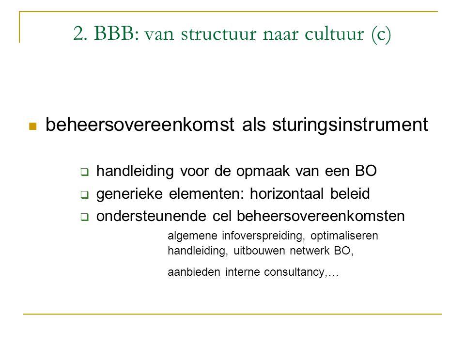 2. BBB: van structuur naar cultuur (c) beheersovereenkomst als sturingsinstrument  handleiding voor de opmaak van een BO  generieke elementen: horiz
