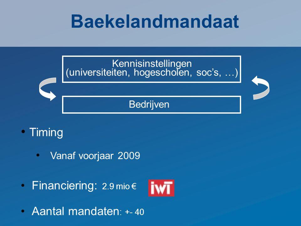 Financiering: 2.9 mio € Aantal mandaten : +- 40 Baekelandmandaat Timing Vanaf voorjaar 2009 Kennisinstellingen (universiteiten, hogescholen, soc's, …) Bedrijven