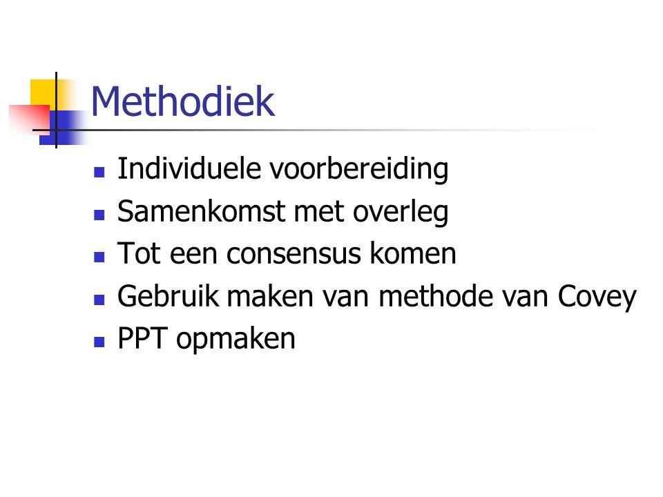 Methodiek Individuele voorbereiding Samenkomst met overleg Tot een consensus komen Gebruik maken van methode van Covey PPT opmaken