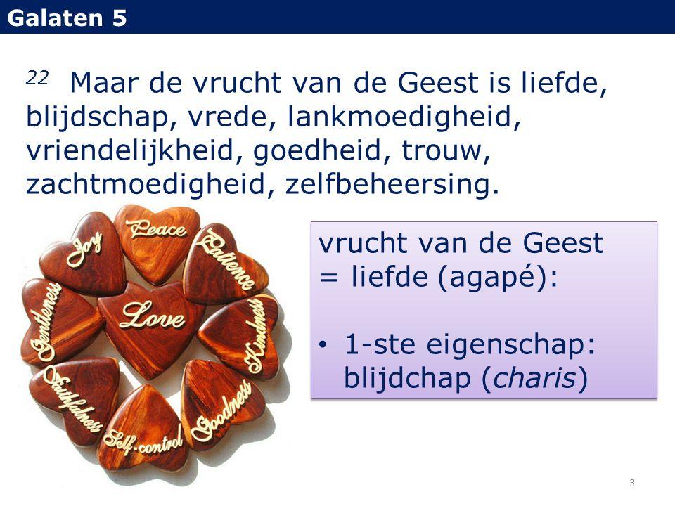 22 Maar de vrucht van de Geest is liefde, blijdschap, vrede, lankmoedigheid, vriendelijkheid, goedheid, trouw, zachtmoedigheid, zelfbeheersing. Galate