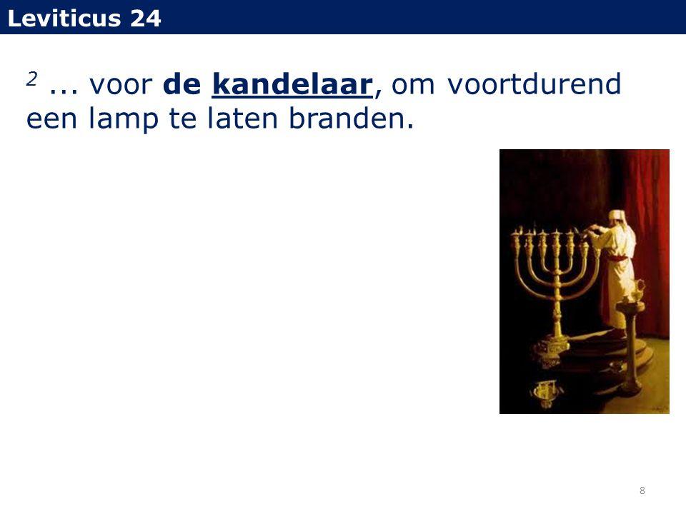2... voor de kandelaar, om voortdurend een lamp te laten branden. Leviticus 24 8