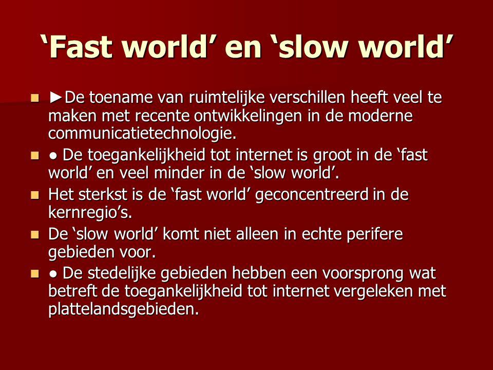 'Fast world' en 'slow world' ► De toename van ruimtelijke verschillen heeft veel te maken met recente ontwikkelingen in de moderne communicatietechnologie.