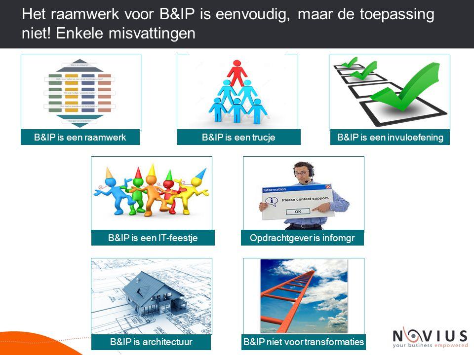 Het raamwerk voor B&IP is eenvoudig, maar de toepassing niet! Enkele misvattingen B&IP is een trucjeB&IP is een invuloefening B&IP is een IT-feestjeOp