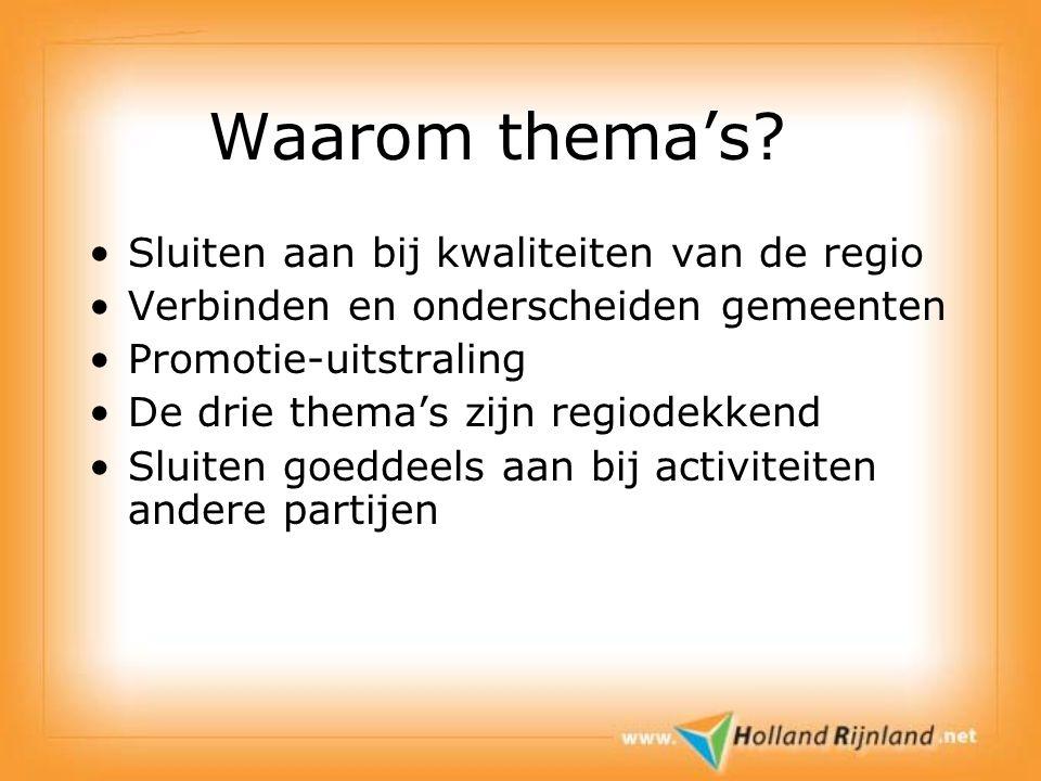 Waarom thema's? Sluiten aan bij kwaliteiten van de regio Verbinden en onderscheiden gemeenten Promotie-uitstraling De drie thema's zijn regiodekkend S