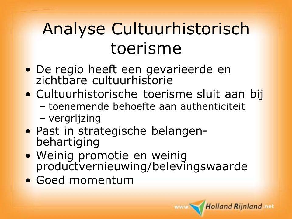 Analyse Cultuurhistorisch toerisme De regio heeft een gevarieerde en zichtbare cultuurhistorie Cultuurhistorische toerisme sluit aan bij –toenemende b
