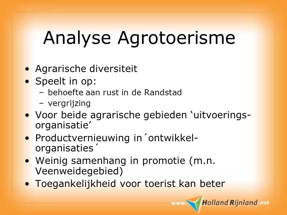Analyse Agrotoerisme Agrarische diversiteit Speelt in op: –behoefte aan rust in de Randstad –vergrijzing Voor beide agrarische gebieden 'uitvoerings- organisatie' Productvernieuwing in´ontwikkel- organisaties´ Weinig samenhang in promotie (m.n.