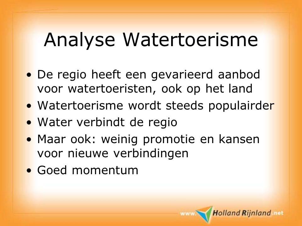 Analyse Watertoerisme De regio heeft een gevarieerd aanbod voor watertoeristen, ook op het land Watertoerisme wordt steeds populairder Water verbindt