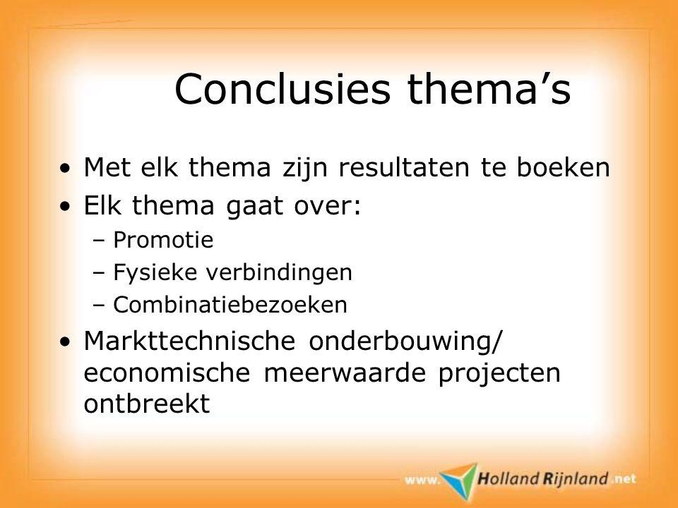 Conclusies thema's Met elk thema zijn resultaten te boeken Elk thema gaat over: –Promotie –Fysieke verbindingen –Combinatiebezoeken Markttechnische onderbouwing/ economische meerwaarde projecten ontbreekt