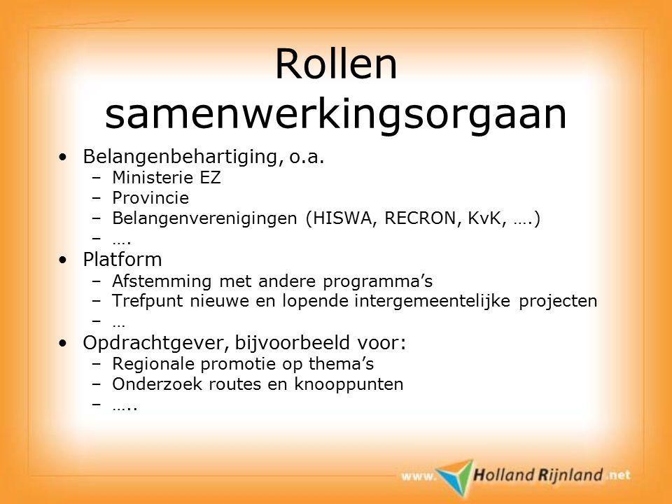 Rollen samenwerkingsorgaan Belangenbehartiging, o.a.