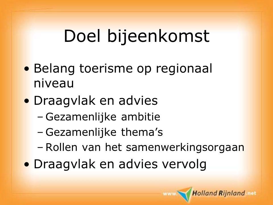 Doel bijeenkomst Belang toerisme op regionaal niveau Draagvlak en advies –Gezamenlijke ambitie –Gezamenlijke thema's –Rollen van het samenwerkingsorgaan Draagvlak en advies vervolg