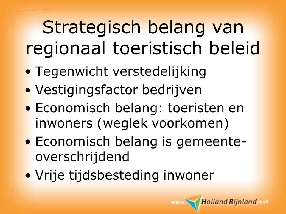Strategisch belang van regionaal toeristisch beleid Tegenwicht verstedelijking Vestigingsfactor bedrijven Economisch belang: toeristen en inwoners (we
