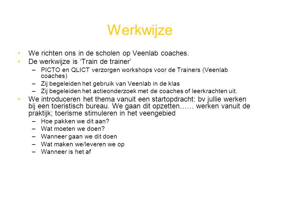 . Werkwijze We richten ons in de scholen op Veenlab coaches. De werkwijze is 'Train de trainer' –PICTO en QLICT verzorgen workshops voor de Trainers (