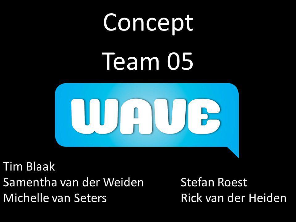 Concept Team 05 Tim Blaak Samentha van der WeidenStefan Roest Michelle van SetersRick van der Heiden