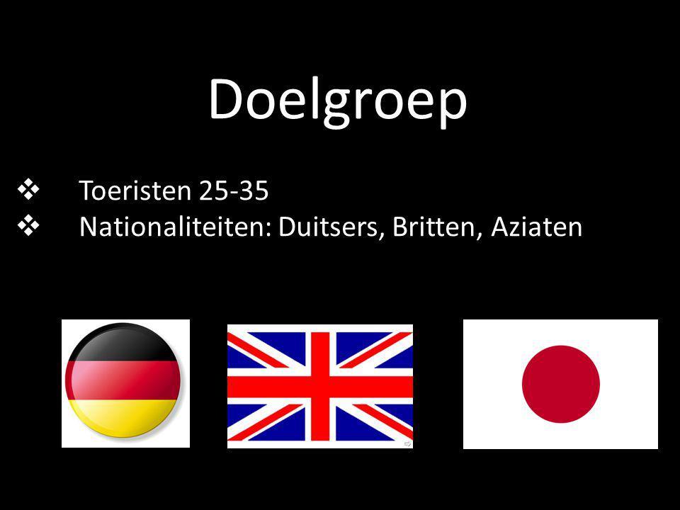 Doelgroep  Toeristen 25-35  Nationaliteiten: Duitsers, Britten, Aziaten