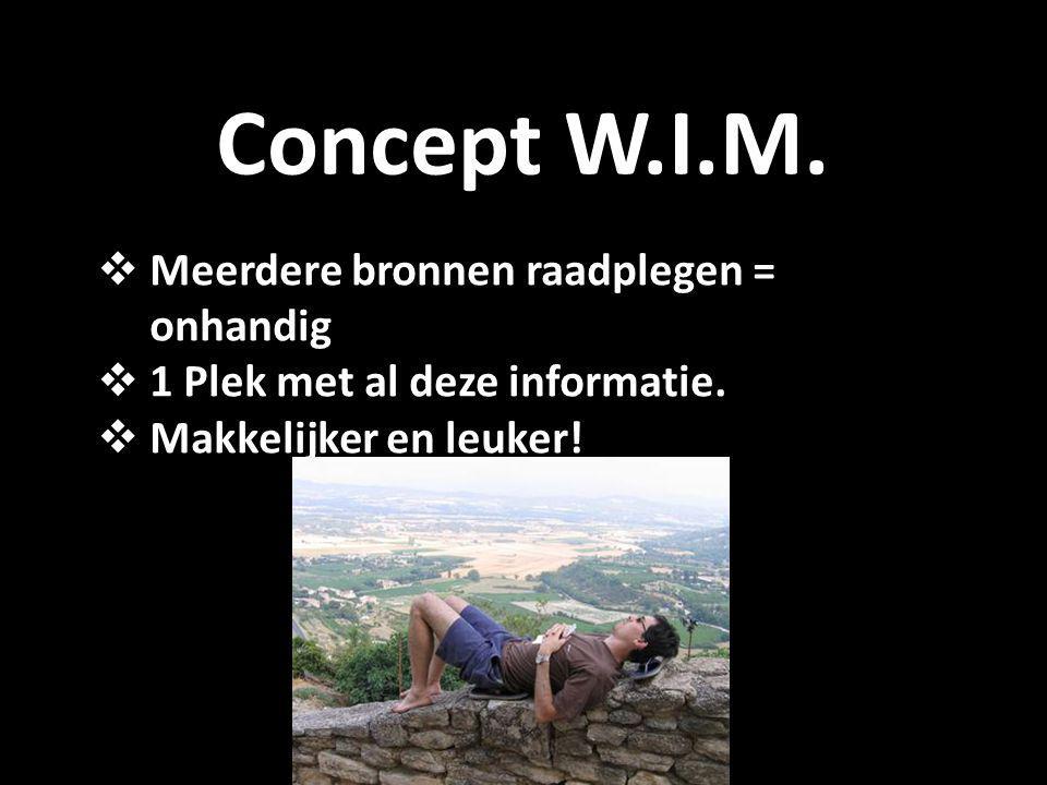 Concept W.I.M.  Meerdere bronnen raadplegen = onhandig  1 Plek met al deze informatie.