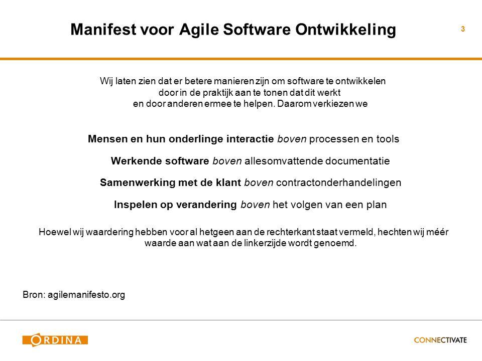3 Manifest voor Agile Software Ontwikkeling Wij laten zien dat er betere manieren zijn om software te ontwikkelen door in de praktijk aan te tonen dat dit werkt en door anderen ermee te helpen.