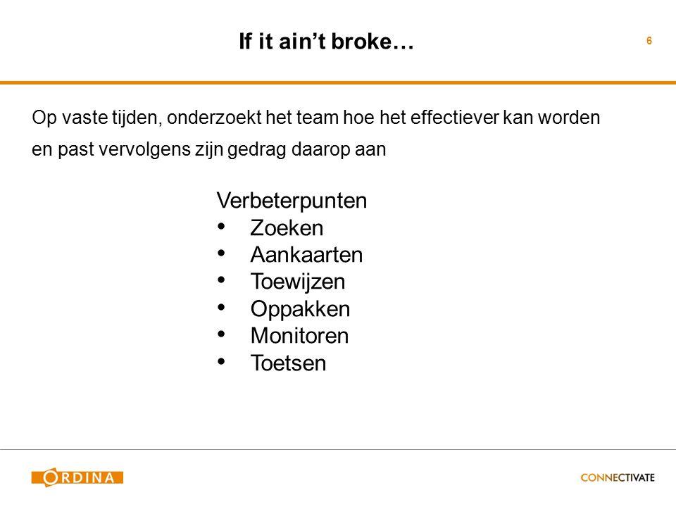 If it ain't broke… Op vaste tijden, onderzoekt het team hoe het effectiever kan worden en past vervolgens zijn gedrag daarop aan 6 Verbeterpunten Zoek