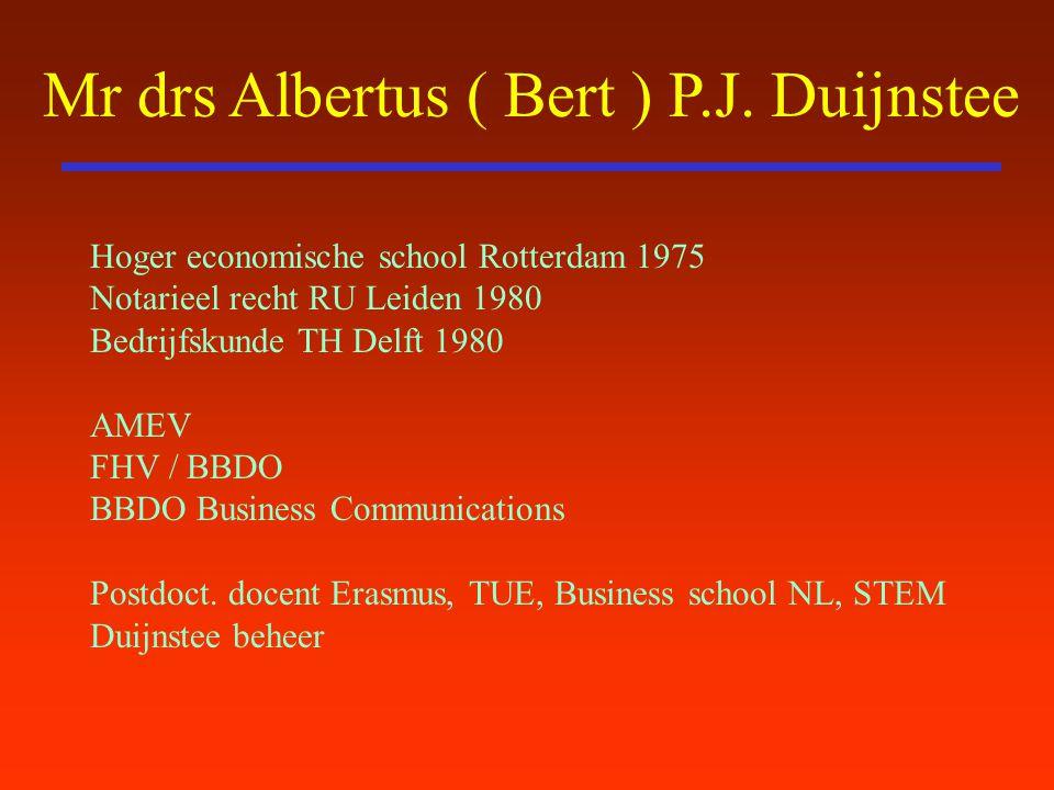 Mr drs Albertus ( Bert ) P.J. Duijnstee Hoger economische school Rotterdam 1975 Notarieel recht RU Leiden 1980 Bedrijfskunde TH Delft 1980 AMEV FHV /