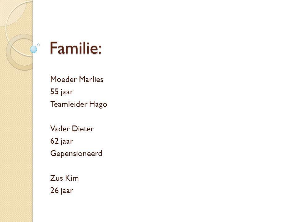 Familie: Moeder Marlies 55 jaar Teamleider Hago Vader Dieter 62 jaar Gepensioneerd Zus Kim 26 jaar