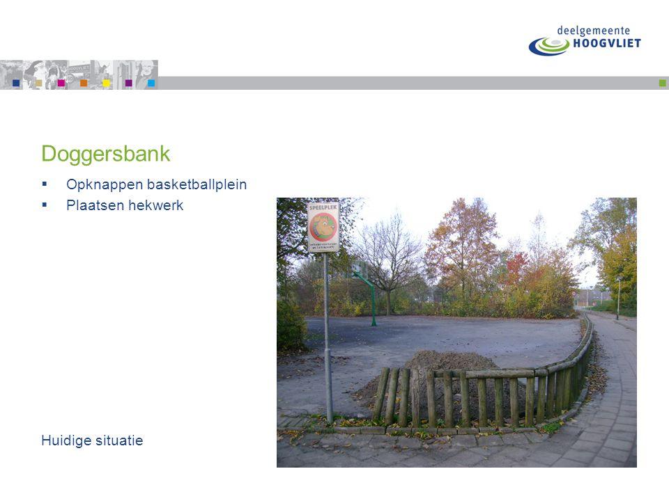 Doggersbank  Opknappen basketballplein  Plaatsen hekwerk Huidige situatie