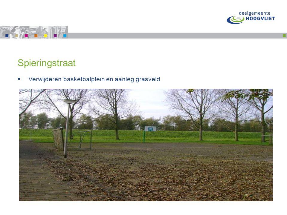 Spieringstraat  Verwijderen basketbalplein en aanleg grasveld