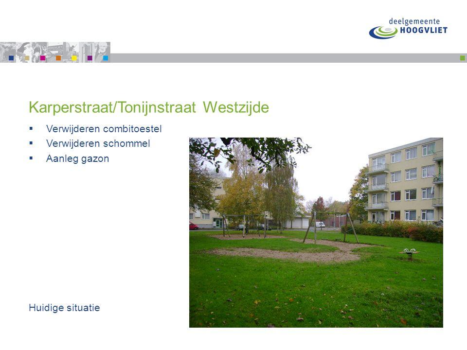 Karperstraat/Tonijnstraat Westzijde  Verwijderen combitoestel  Verwijderen schommel  Aanleg gazon Huidige situatie
