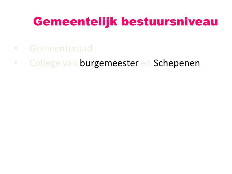 Gemeenteraad College van burgemeester en Schepenen Gemeentelijk bestuursniveau