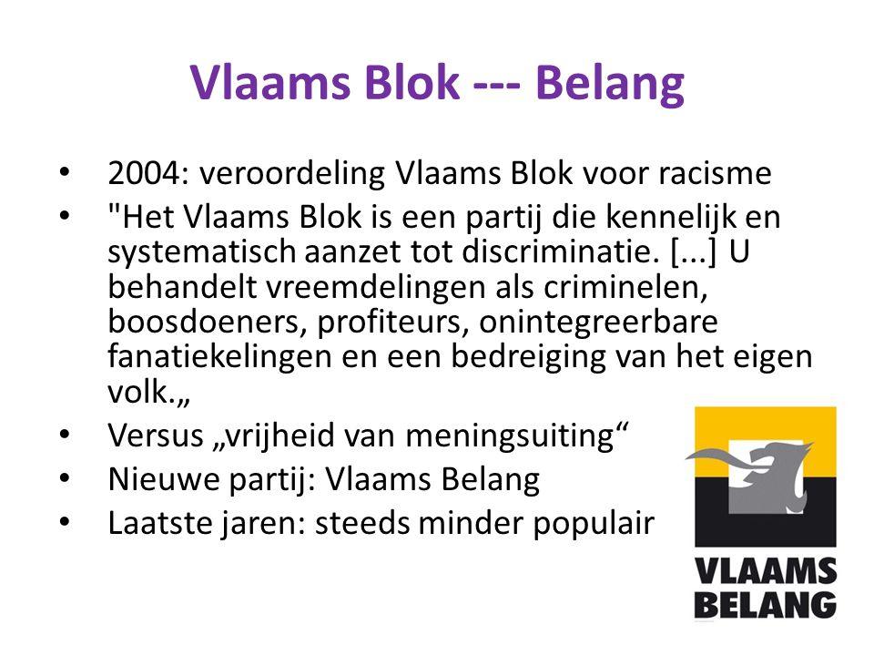 Vlaams Blok --- Belang 2004: veroordeling Vlaams Blok voor racisme Het Vlaams Blok is een partij die kennelijk en systematisch aanzet tot discriminatie.