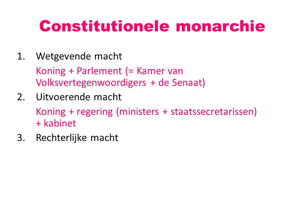 1.Wetgevende macht Koning + Parlement (= Kamer van Volksvertegenwoordigers + de Senaat) 2.Uitvoerende macht Koning + regering (ministers + staatssecretarissen) + kabinet 3.Rechterlijke macht Constitutionele monarchie