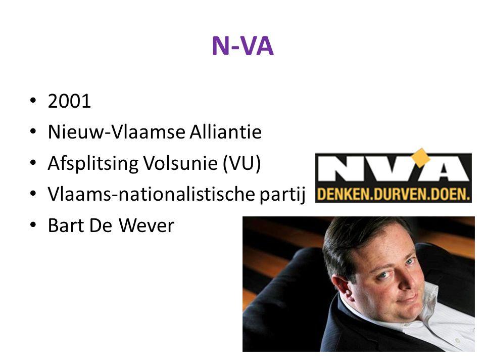 N-VA 2001 Nieuw-Vlaamse Alliantie Afsplitsing Volsunie (VU) Vlaams-nationalistische partij Bart De Wever