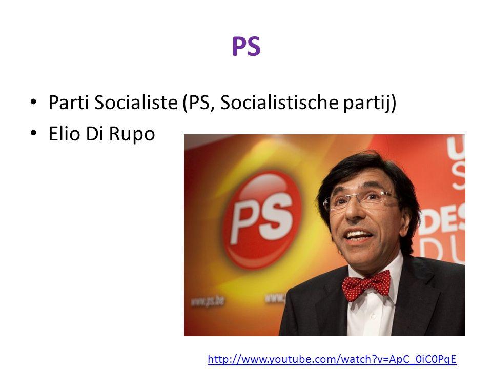 PS Parti Socialiste (PS, Socialistische partij) Elio Di Rupo http://www.youtube.com/watch?v=ApC_0iC0PqE
