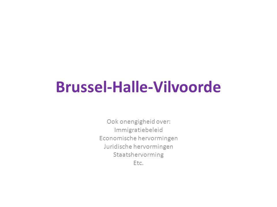 Brussel-Halle-Vilvoorde Ook onengigheid over: Immigratiebeleid Economische hervormingen Juridische hervormingen Staatshervorming Etc.