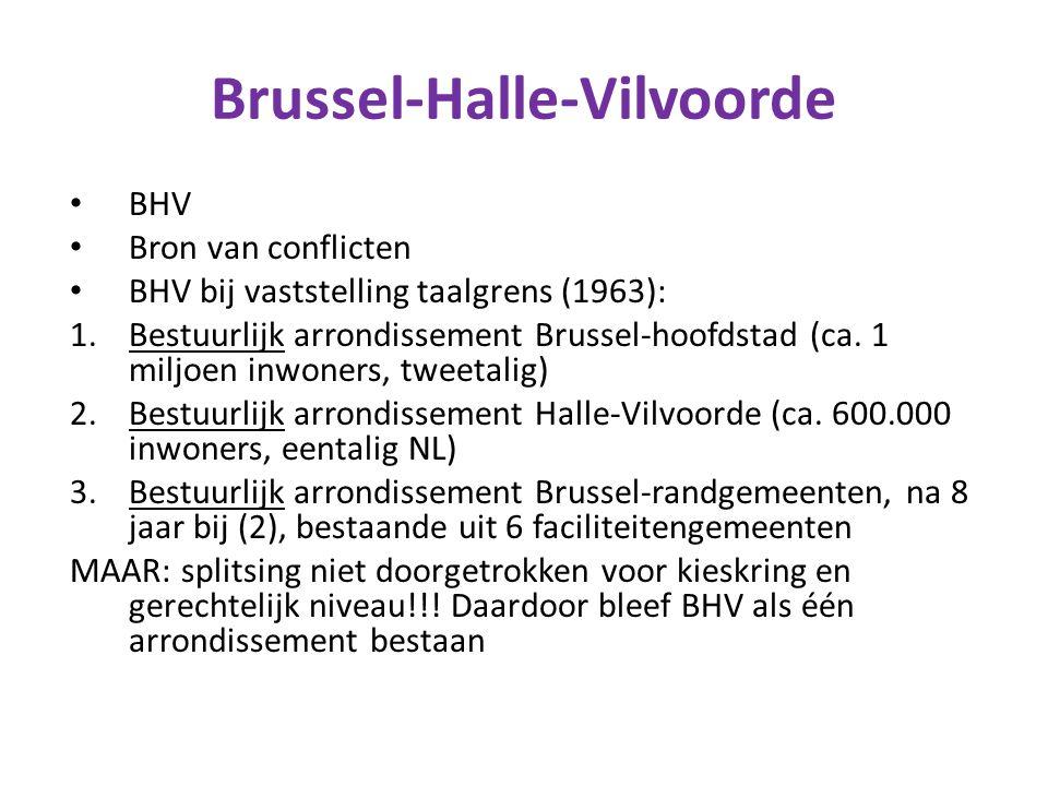 Brussel-Halle-Vilvoorde BHV Bron van conflicten BHV bij vaststelling taalgrens (1963): 1.Bestuurlijk arrondissement Brussel-hoofdstad (ca. 1 miljoen i