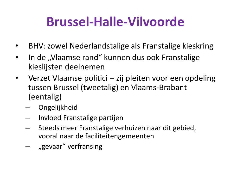 """Brussel-Halle-Vilvoorde BHV: zowel Nederlandstalige als Franstalige kieskring In de """"Vlaamse rand"""" kunnen dus ook Franstalige kieslijsten deelnemen Ve"""