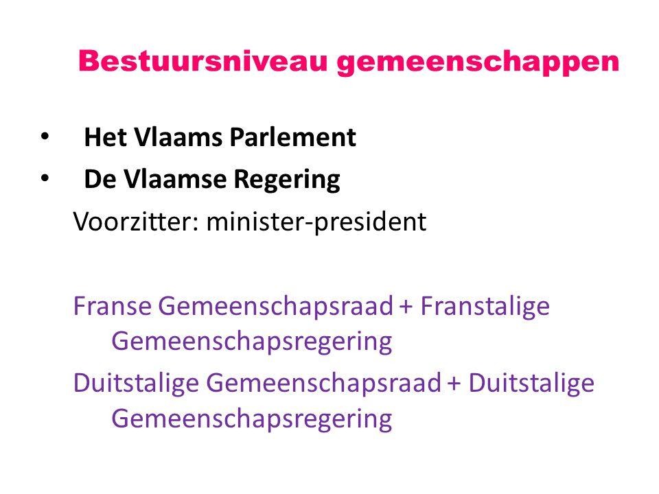 Het Vlaams Parlement De Vlaamse Regering Voorzitter: minister-president Franse Gemeenschapsraad + Franstalige Gemeenschapsregering Duitstalige Gemeenschapsraad + Duitstalige Gemeenschapsregering Bestuursniveau gemeenschappen