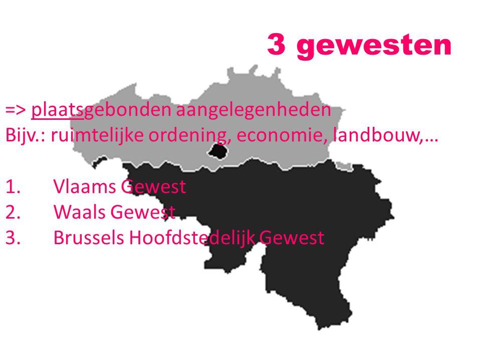 3 gewesten => plaatsgebonden aangelegenheden Bijv.: ruimtelijke ordening, economie, landbouw,… 1.Vlaams Gewest 2.Waals Gewest 3.Brussels Hoofdstedelij