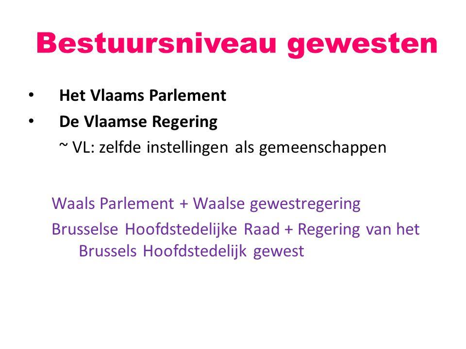 Het Vlaams Parlement De Vlaamse Regering ~ VL: zelfde instellingen als gemeenschappen Waals Parlement + Waalse gewestregering Brusselse Hoofdstedelijk
